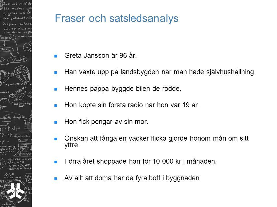 Fraser och satsledsanalys Greta Jansson är 96 år.