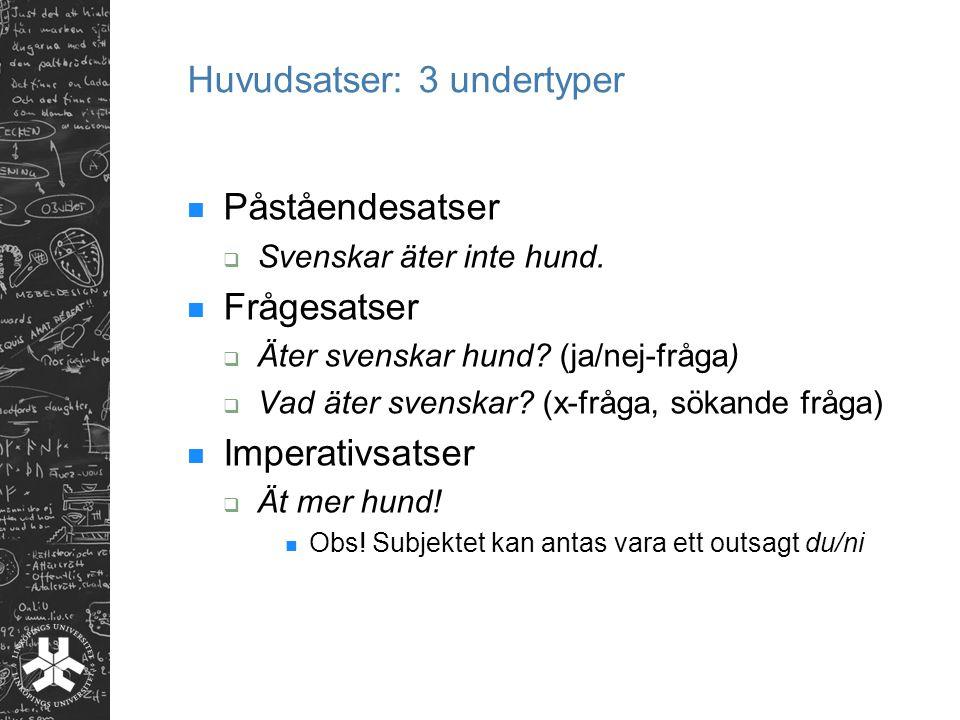 Huvudsatser: 3 undertyper Påståendesatser  Svenskar äter inte hund.