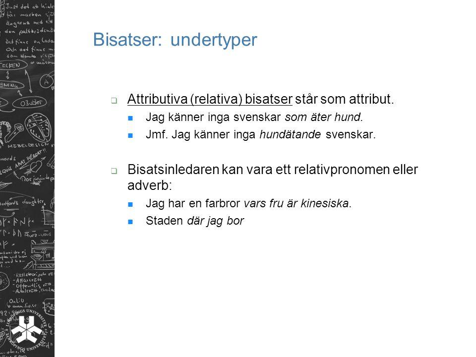 Bisatser: undertyper  Attributiva (relativa) bisatser står som attribut.
