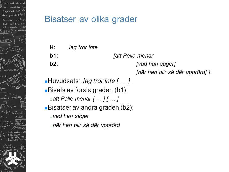 Bisatser av olika grader H: Jag tror inte b1:[att Pelle menar b2:[vad han säger] [när han blir så där upprörd] ].