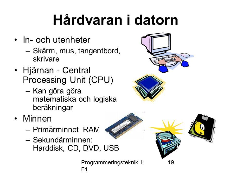 Programmeringsteknik I: F1 19 Hårdvaran i datorn In- och utenheter –Skärm, mus, tangentbord, skrivare Hjärnan - Central Processing Unit (CPU) –Kan göra göra matematiska och logiska beräkningar Minnen –Primärminnet RAM –Sekundärminnen: Hårddisk, CD, DVD, USB