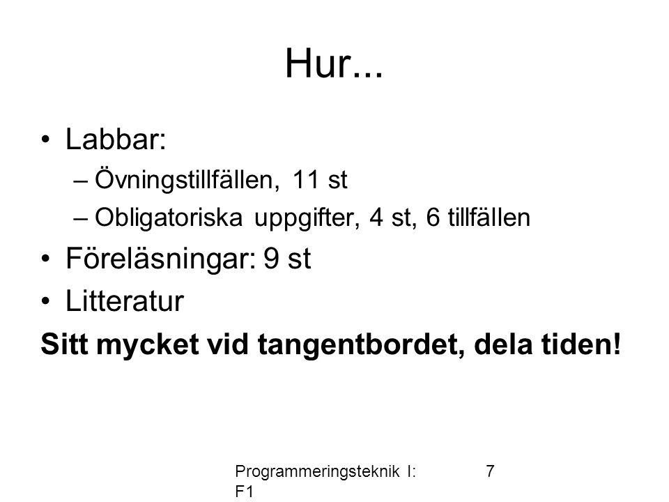 Programmeringsteknik I: F1 7 Hur...