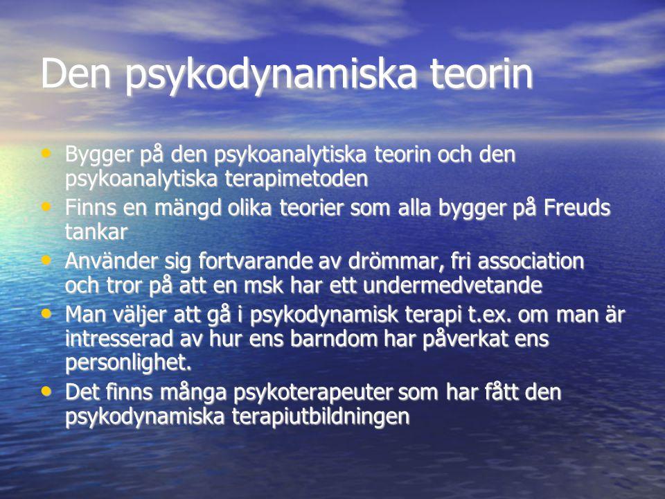 Den psykodynamiska teorin Bygger på den psykoanalytiska teorin och den psykoanalytiska terapimetoden Bygger på den psykoanalytiska teorin och den psyk