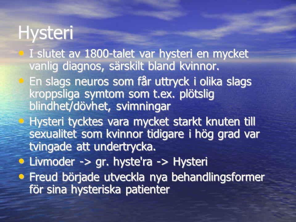 Behandling av hysterikor Det visade sig att hypnos inte var den bästa behandlingsmetoden Det visade sig att hypnos inte var den bästa behandlingsmetoden Freud upptäckte att kvinnor ville TALA om sina innersta känslor och tankar Freud upptäckte att kvinnor ville TALA om sina innersta känslor och tankar Genom sina terapistunder med hysterikor började Freud prata om termer som bortträngning och det omedvetna Genom sina terapistunder med hysterikor började Freud prata om termer som bortträngning och det omedvetna