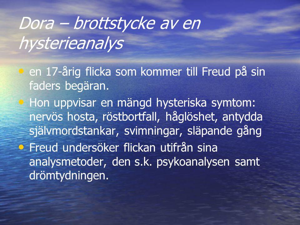 Dora – brottstycke av en hysterieanalys en 17-årig flicka som kommer till Freud på sin faders begäran. Hon uppvisar en mängd hysteriska symtom: nervös