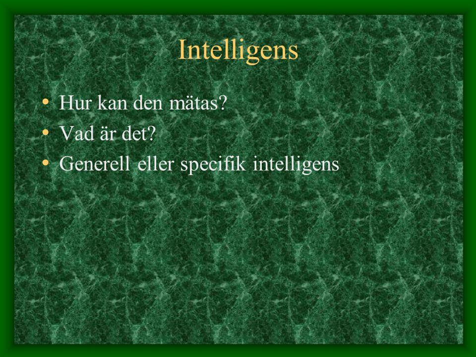 Intelligens Hur kan den mätas? Vad är det? Generell eller specifik intelligens