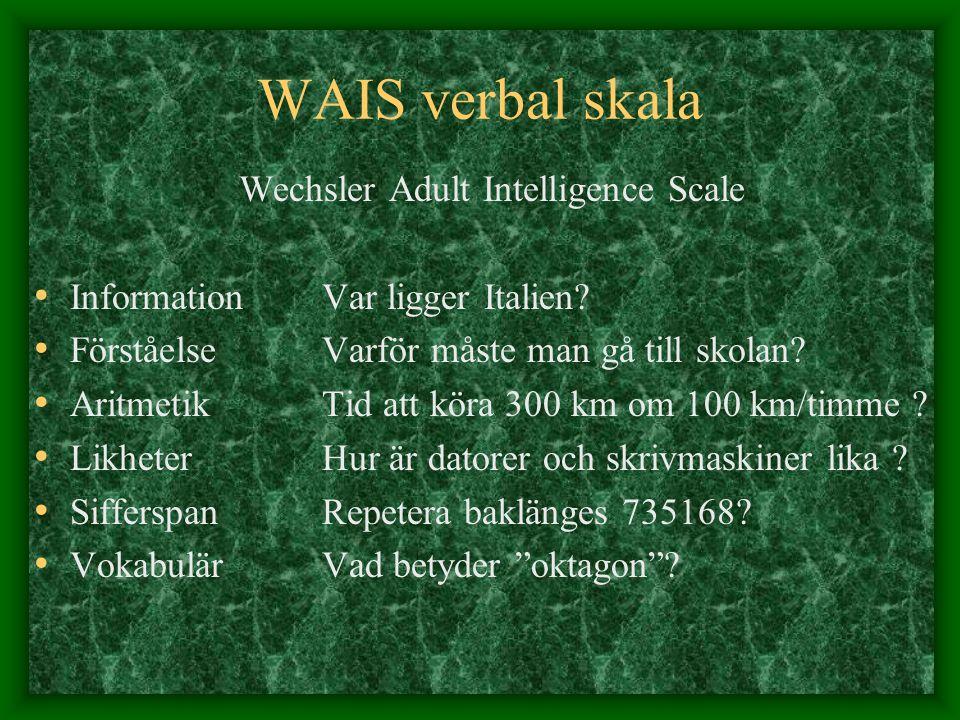 WAIS verbal skala Wechsler Adult Intelligence Scale InformationVar ligger Italien? Förståelse Varför måste man gå till skolan? AritmetikTid att köra 3
