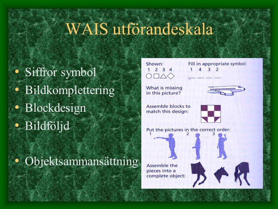 WAIS utförandeskala Siffror symbol Bildkomplettering Blockdesign Bildföljd Objektsammansättning