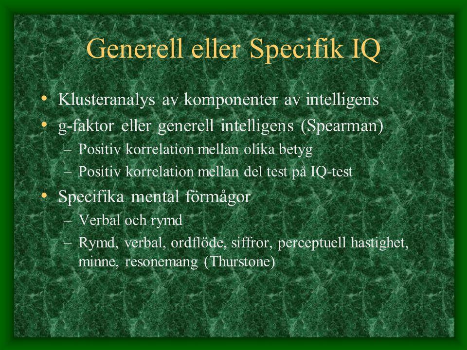 Generell eller Specifik IQ Klusteranalys av komponenter av intelligens g-faktor eller generell intelligens (Spearman) –Positiv korrelation mellan olik