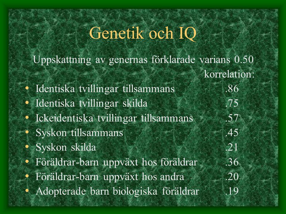 Genetik och IQ Uppskattning av genernas förklarade varians 0.50 korrelation: Identiska tvillingar tillsammans.86 Identiska tvillingar skilda.75 Ickeid