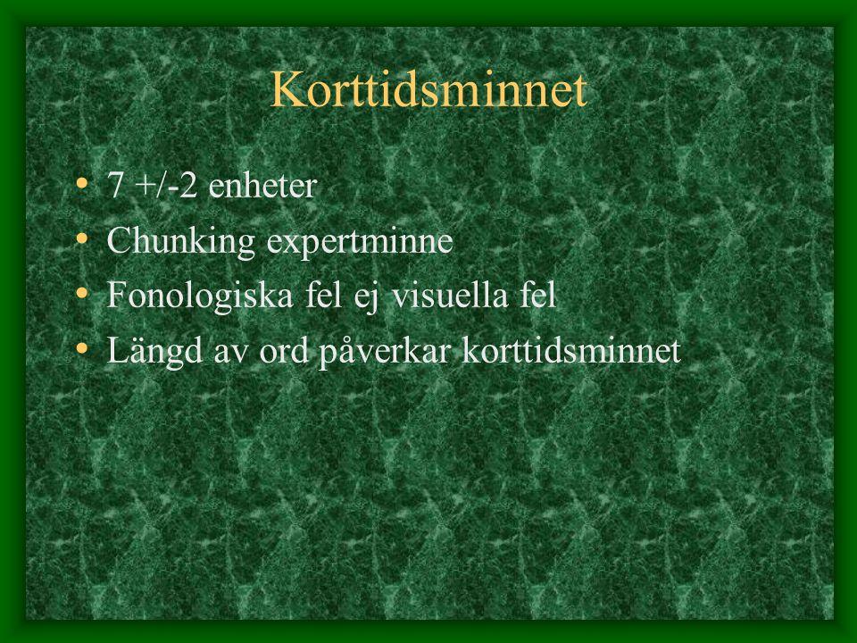 Korttidsminnet 7 +/-2 enheter Chunking expertminne Fonologiska fel ej visuella fel Längd av ord påverkar korttidsminnet