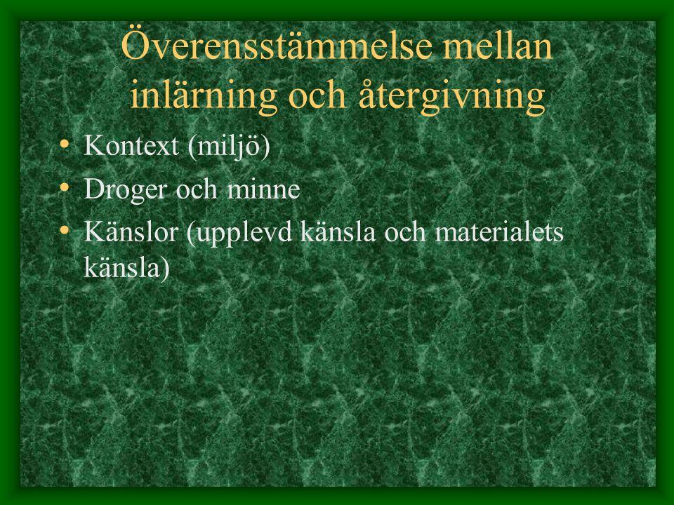 Överensstämmelse mellan inlärning och återgivning Kontext (miljö) Droger och minne Känslor (upplevd känsla och materialets känsla)