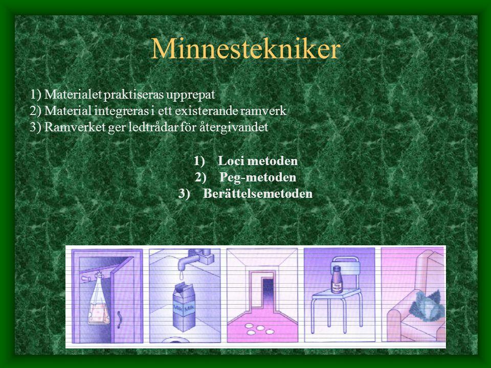 1) Materialet praktiseras upprepat 2) Material integreras i ett existerande ramverk 3) Ramverket ger ledtrådar för återgivandet 1)Loci metoden 2)Peg-m