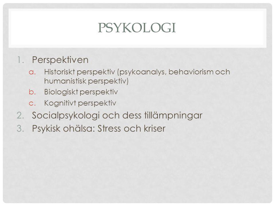 PSYKOLOGI 1.Perspektiven a.Historiskt perspektiv (psykoanalys, behaviorism och humanistisk perspektiv) b.Biologiskt perspektiv c.Kognitivt perspektiv 2.Socialpsykologi och dess tillämpningar 3.Psykisk ohälsa: Stress och kriser