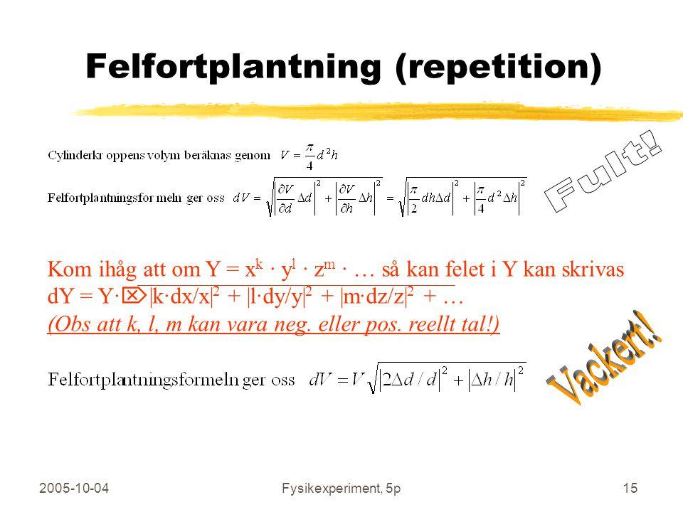 2005-10-04Fysikexperiment, 5p15 Felfortplantning (repetition) Kom ihåg att om Y = x k · y l · z m · … så kan felet i Y kan skrivas dY = Y·  |k·dx/x| 2 + |l·dy/y| 2 + |m·dz/z| 2 + … (Obs att k, l, m kan vara neg.
