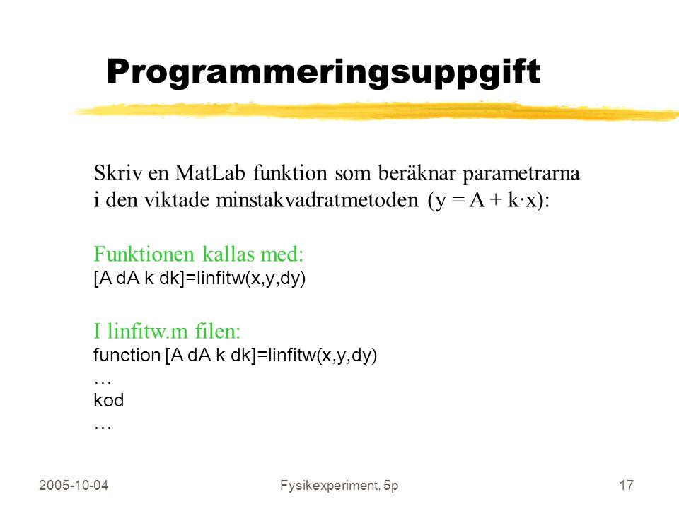 2005-10-04Fysikexperiment, 5p17 Programmeringsuppgift Skriv en MatLab funktion som beräknar parametrarna i den viktade minstakvadratmetoden (y = A + k·x): Funktionen kallas med: [A dA k dk]=linfitw(x,y,dy) I linfitw.m filen: function [A dA k dk]=linfitw(x,y,dy) … kod …