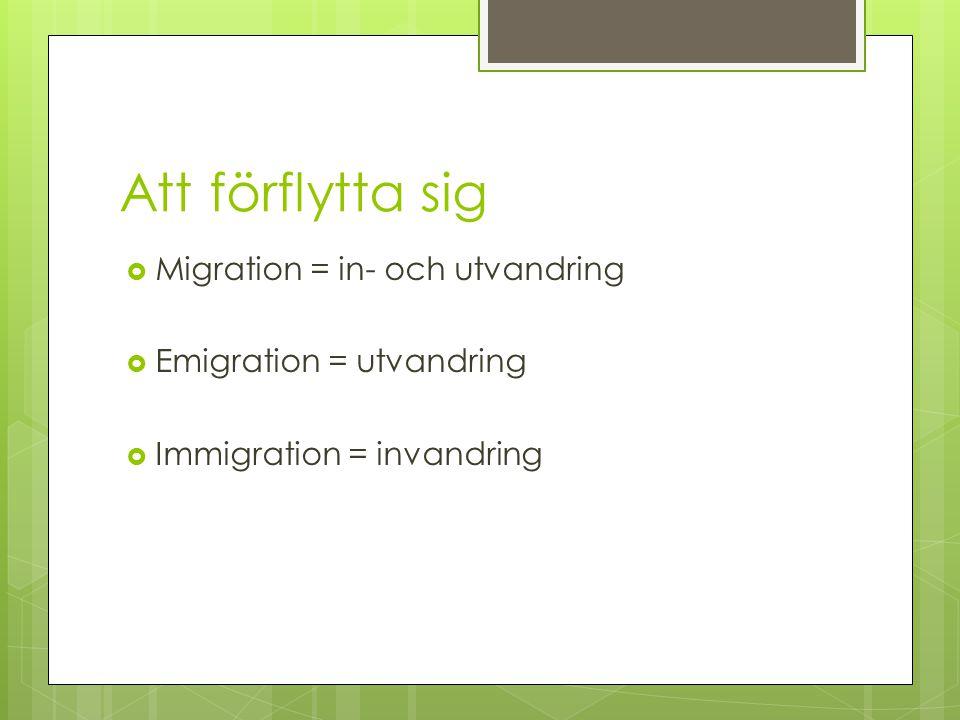 Att förflytta sig  Migration = in- och utvandring  Emigration = utvandring  Immigration = invandring