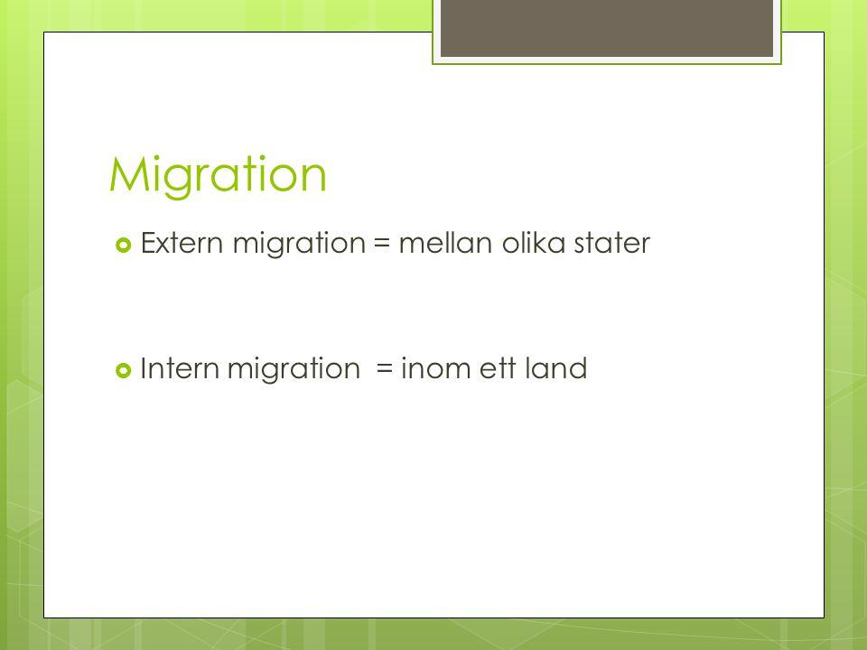 Migration  Extern migration = mellan olika stater  Intern migration = inom ett land