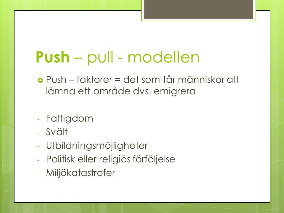 Push – pull - modellen  Push – faktorer = det som får människor att lämna ett område dvs. emigrera - Fattigdom - Svält - Utbildningsmöjligheter - Pol