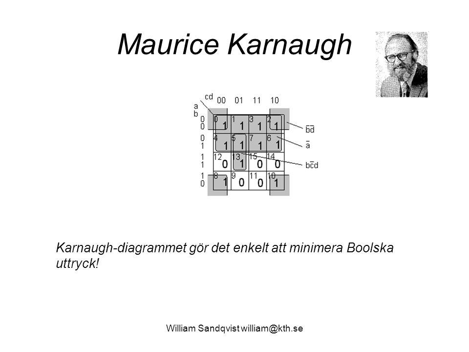 William Sandqvist william@kth.se Maurice Karnaugh Karnaugh-diagrammet gör det enkelt att minimera Boolska uttryck!
