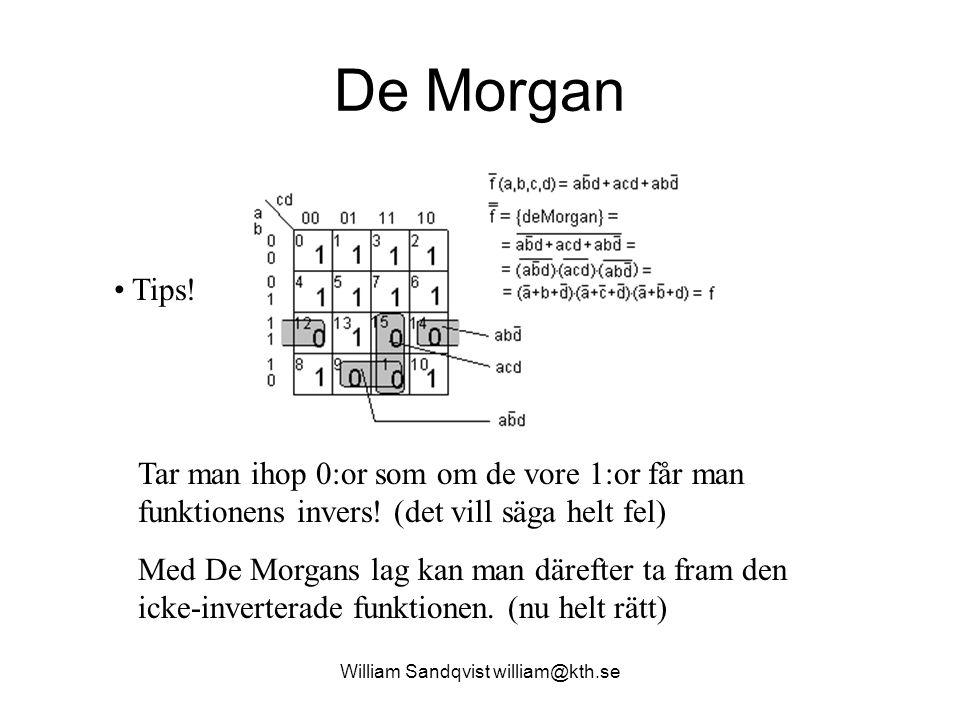 De Morgan Tar man ihop 0:or som om de vore 1:or får man funktionens invers.