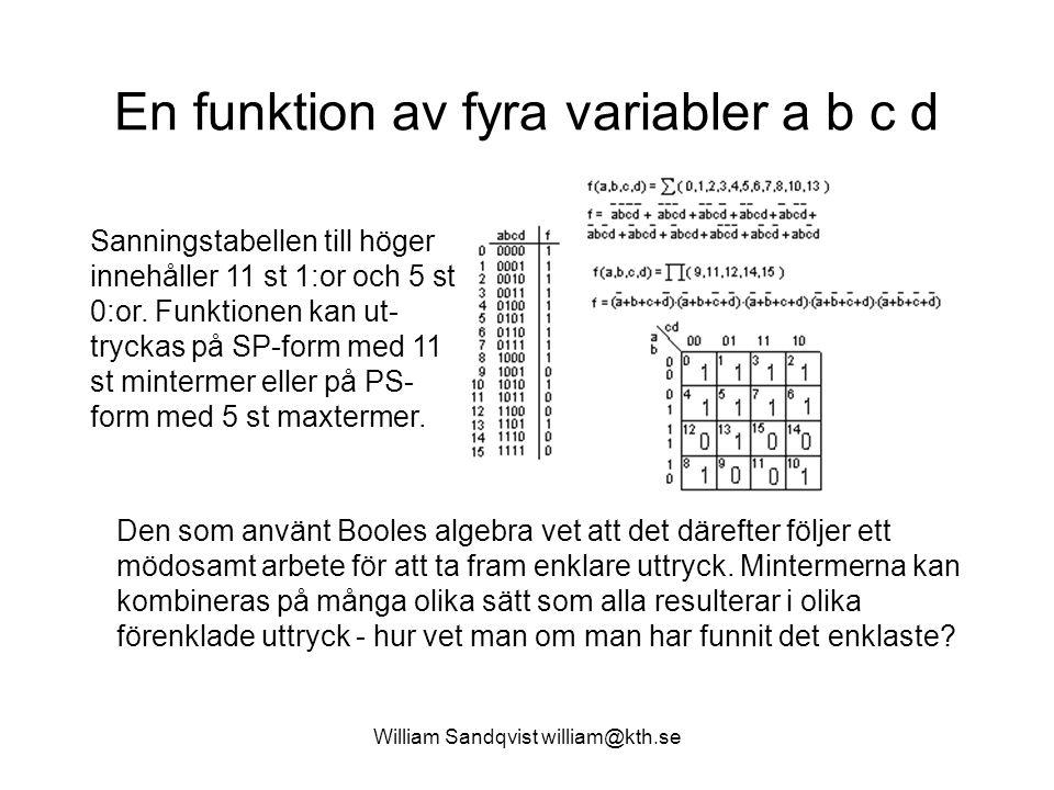 William Sandqvist william@kth.se En funktion av fyra variabler a b c d Den som använt Booles algebra vet att det därefter följer ett mödosamt arbete för att ta fram enklare uttryck.