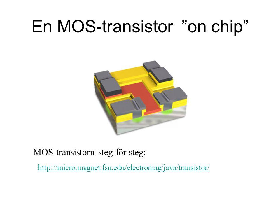 En MOS-transistor on chip http://micro.magnet.fsu.edu/electromag/java/transistor/ MOS-transistorn steg för steg: