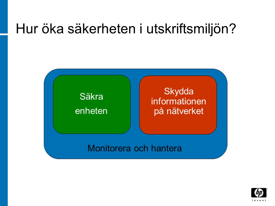 Hur öka säkerheten i utskriftsmiljön? Monitorera och hantera Säkra enheten Skydda informationen på nätverket