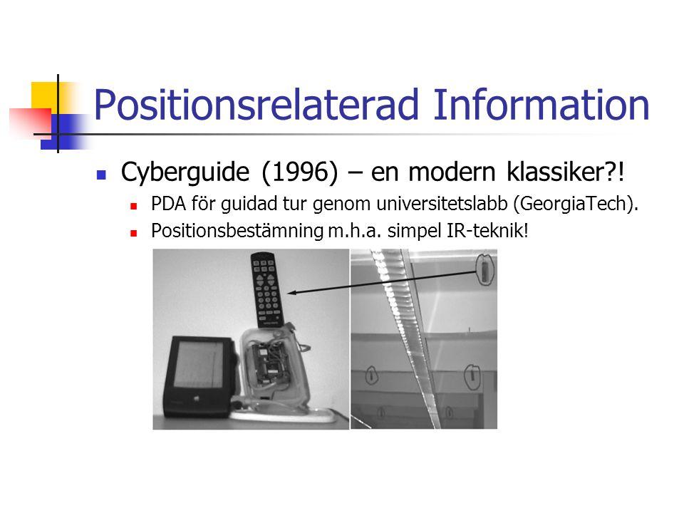 Positionsrelaterad Information Cyberguide (1996) – en modern klassiker?.