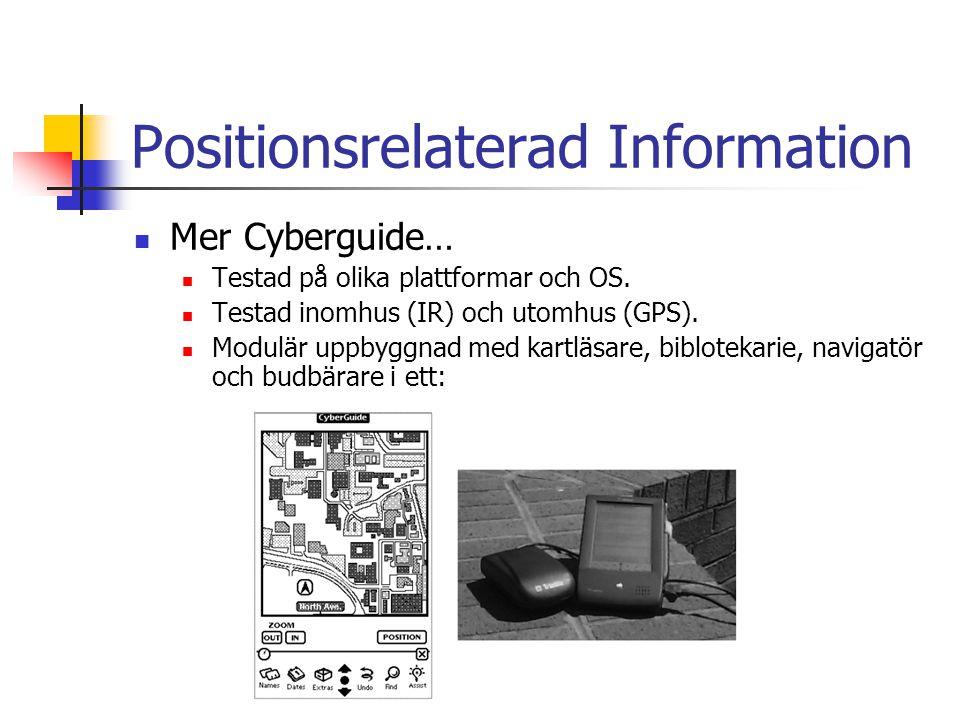 Positionsrelaterad Information Mer Cyberguide… Testad på olika plattformar och OS.
