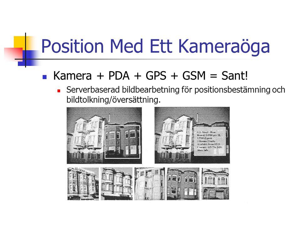 Position Med Ett Kameraöga Kamera + PDA + GPS + GSM = Sant.