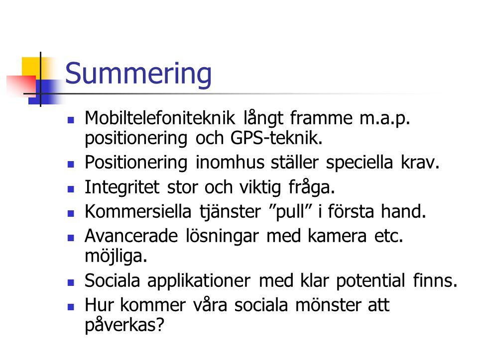 Summering Mobiltelefoniteknik långt framme m.a.p.positionering och GPS-teknik.