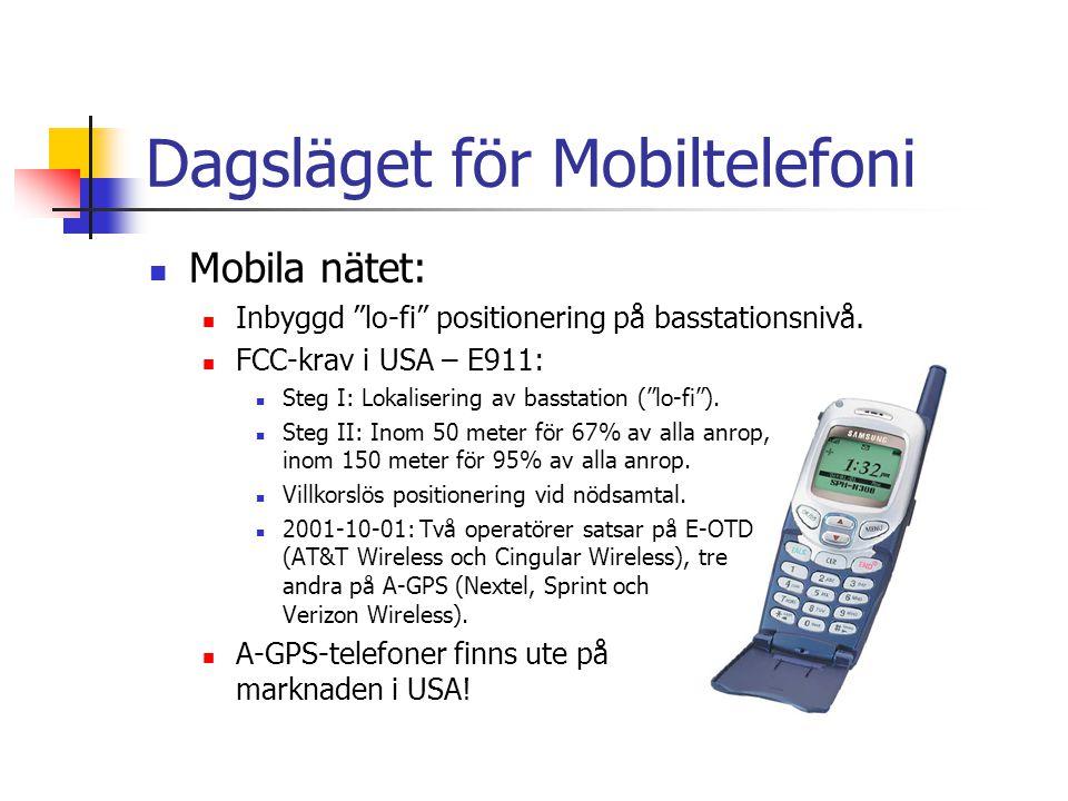 Dagsläget för Mobiltelefoni Mobila nätet: Inbyggd lo-fi positionering på basstationsnivå.