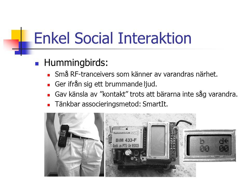 Enkel Social Interaktion Hummingbirds: Små RF-tranceivers som känner av varandras närhet.