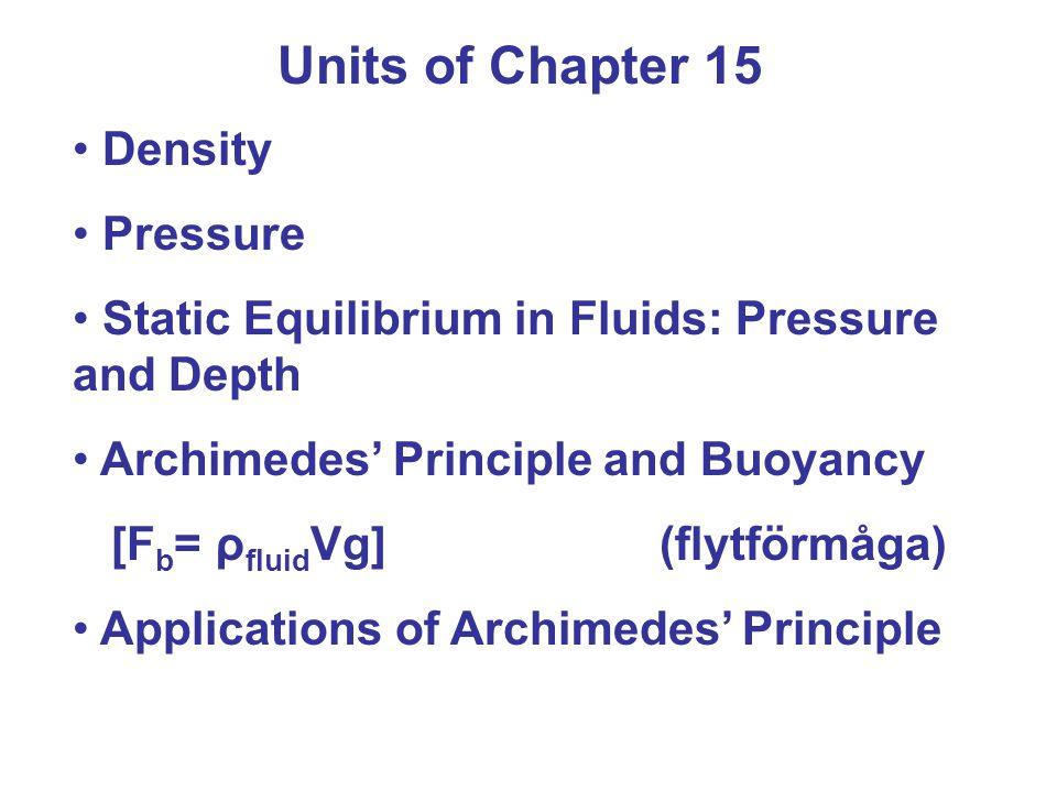 Example 15-5 Measuring the Body's density En person vars vikt (W) är 720,0 N i luft sänks ner helt och hållet i vatten.