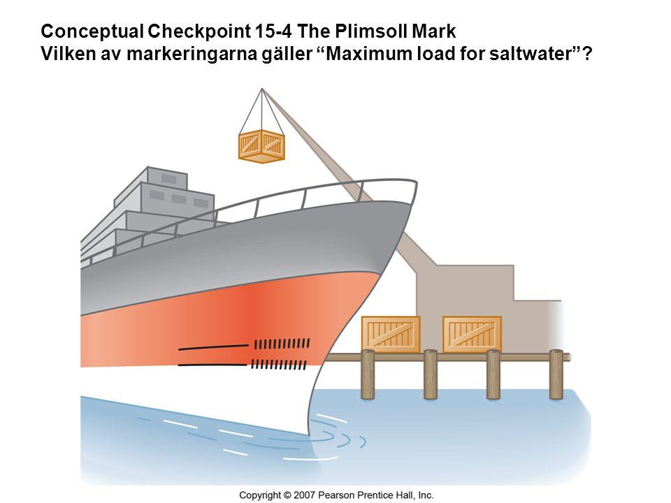 Conceptual Checkpoint 15-4 The Plimsoll Mark Vilken av markeringarna gäller Maximum load for saltwater ?