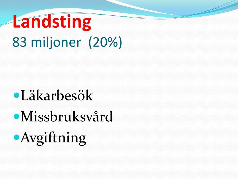 Landsting 83 miljoner (20%) Läkarbesök Missbruksvård Avgiftning