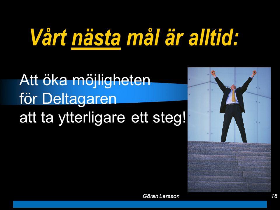 Göran Larsson18 Vårt nästa mål är alltid: Att öka möjligheten för Deltagaren att ta ytterligare ett steg!