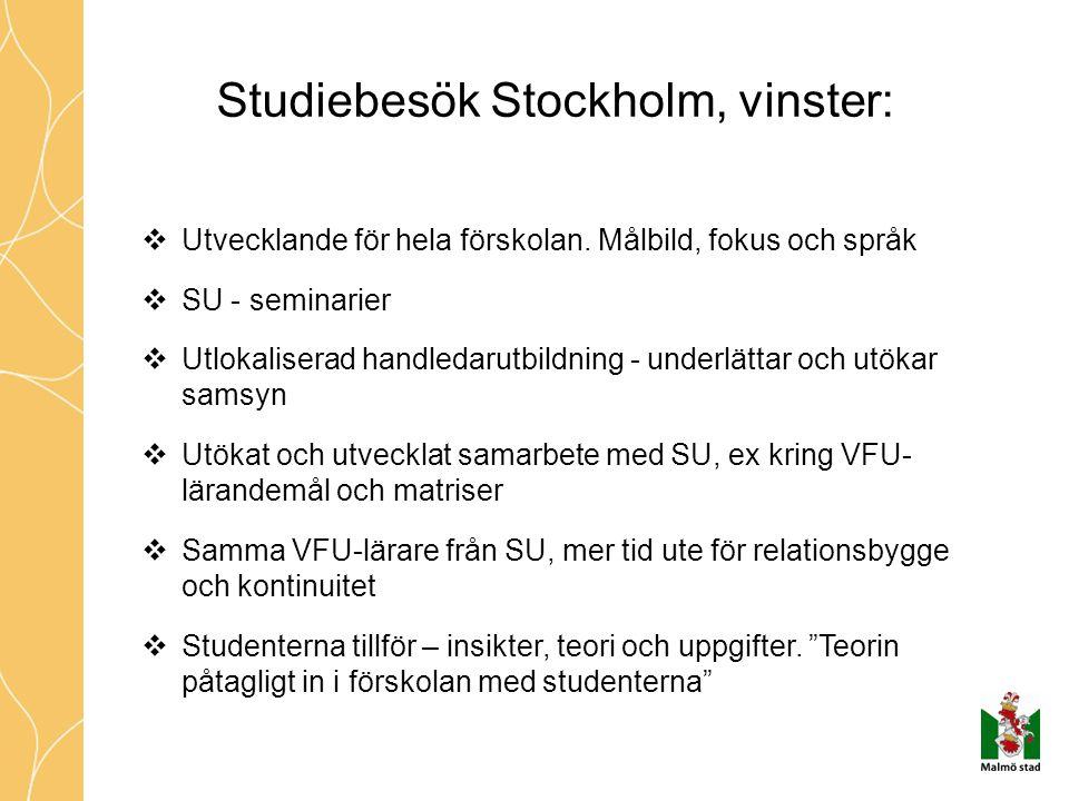 Studiebesök Stockholm, vinster:  Utvecklande för hela förskolan. Målbild, fokus och språk  SU - seminarier  Utlokaliserad handledarutbildning - und