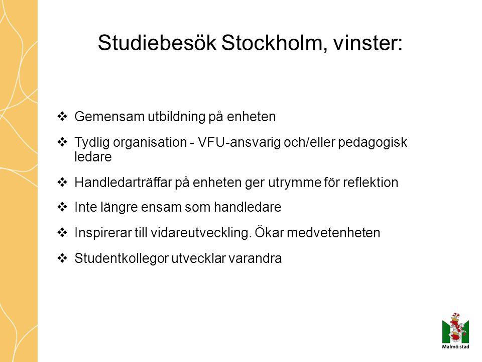 Studiebesök Stockholm, vinster:  Gemensam utbildning på enheten  Tydlig organisation - VFU-ansvarig och/eller pedagogisk ledare  Handledarträffar på enheten ger utrymme för reflektion  Inte längre ensam som handledare  Inspirerar till vidareutveckling.