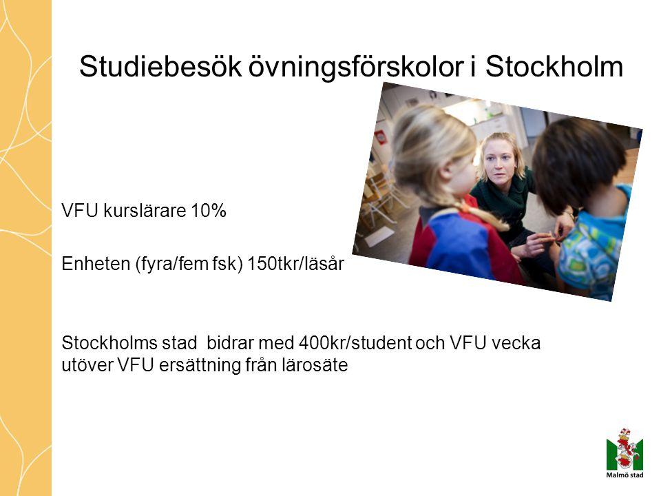 Studiebesök övningsförskolor i Stockholm VFU kurslärare 10% Enheten (fyra/fem fsk) 150tkr/läsår Stockholms stad bidrar med 400kr/student och VFU vecka utöver VFU ersättning från lärosäte