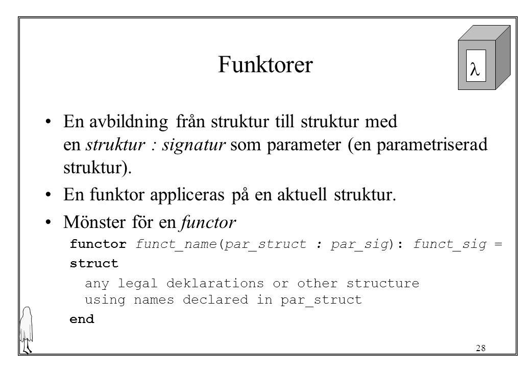 28 Funktorer En avbildning från struktur till struktur med en struktur : signatur som parameter (en parametriserad struktur).