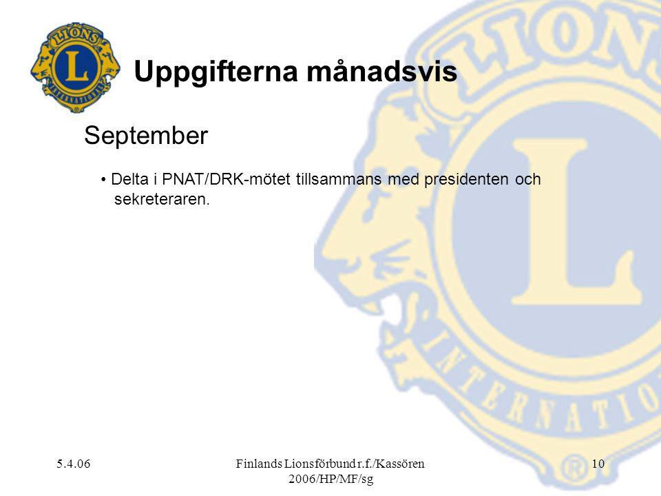 5.4.06Finlands Lionsförbund r.f./Kassören 2006/HP/MF/sg 10 September Delta i PNAT/DRK-mötet tillsammans med presidenten och sekreteraren. Uppgifterna
