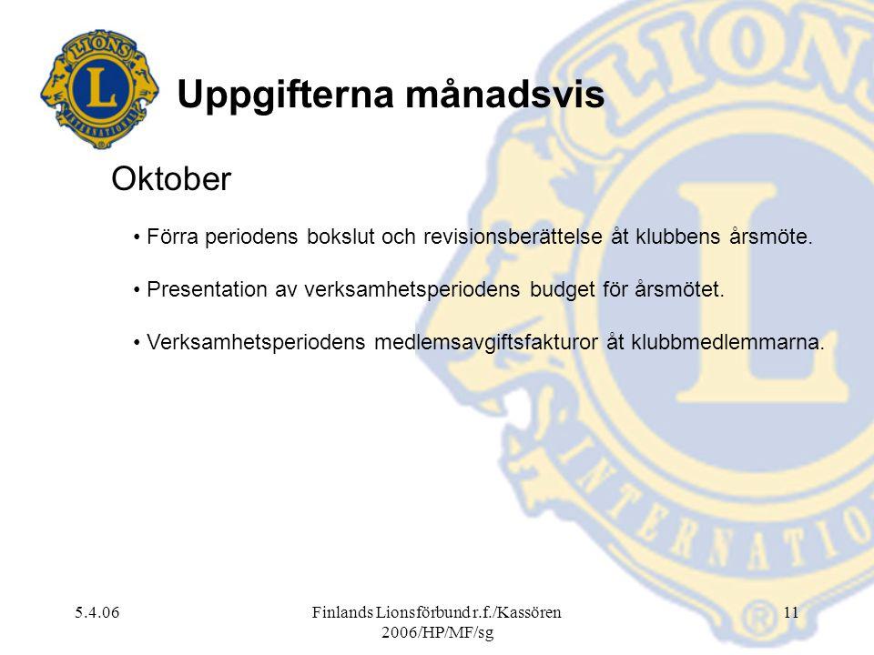 5.4.06Finlands Lionsförbund r.f./Kassören 2006/HP/MF/sg 11 Oktober Förra periodens bokslut och revisionsberättelse åt klubbens årsmöte. Presentation a