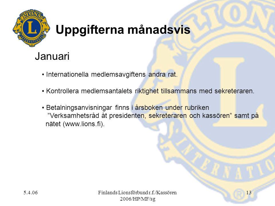 5.4.06Finlands Lionsförbund r.f./Kassören 2006/HP/MF/sg 13 Januari Internationella medlemsavgiftens andra rat. Kontrollera medlemsantalets riktighet t