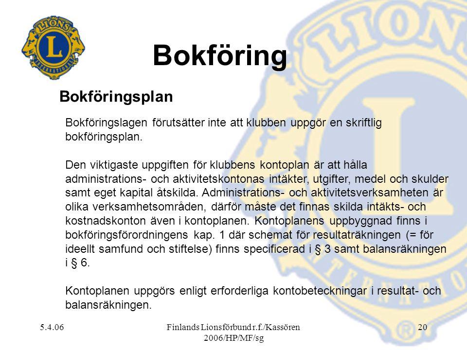 5.4.06Finlands Lionsförbund r.f./Kassören 2006/HP/MF/sg 20 Bokföringslagen förutsätter inte att klubben uppgör en skriftlig bokföringsplan. Den viktig