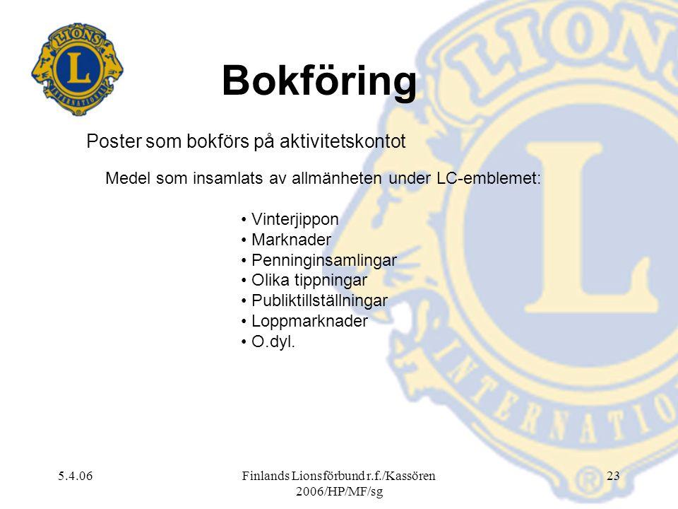 5.4.06Finlands Lionsförbund r.f./Kassören 2006/HP/MF/sg 23 Medel som insamlats av allmänheten under LC-emblemet: Vinterjippon Marknader Penninginsamli