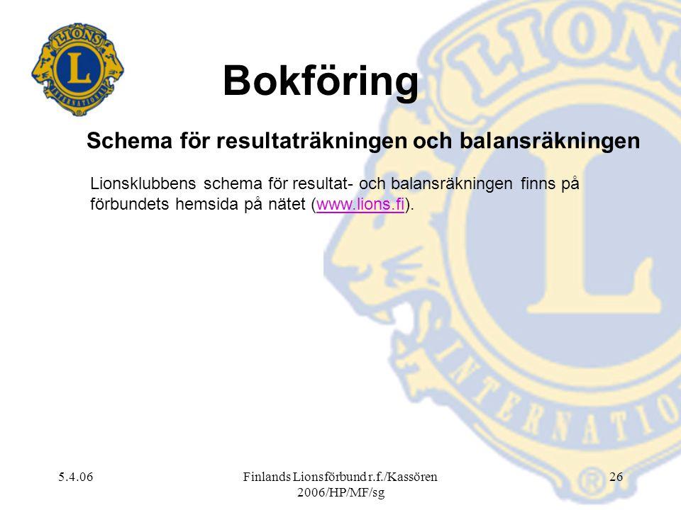 5.4.06Finlands Lionsförbund r.f./Kassören 2006/HP/MF/sg 26 Lionsklubbens schema för resultat- och balansräkningen finns på förbundets hemsida på nätet