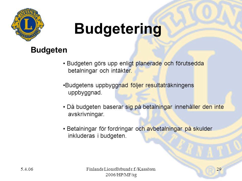 5.4.06Finlands Lionsförbund r.f./Kassören 2006/HP/MF/sg 29 Budgetering Budgeten görs upp enligt planerade och förutsedda betalningar och intäkter. Bud