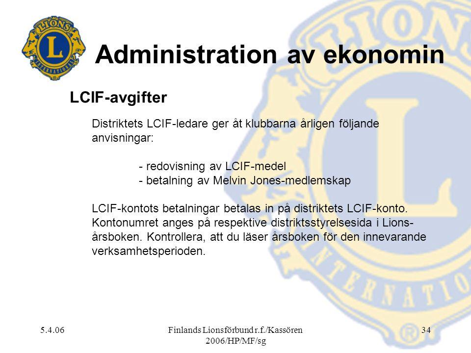 5.4.06Finlands Lionsförbund r.f./Kassören 2006/HP/MF/sg 34 Distriktets LCIF-ledare ger åt klubbarna årligen följande anvisningar: - redovisning av LCI